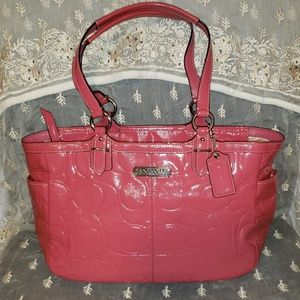Coach Gallery Embossed Patent Leather Zip Tote